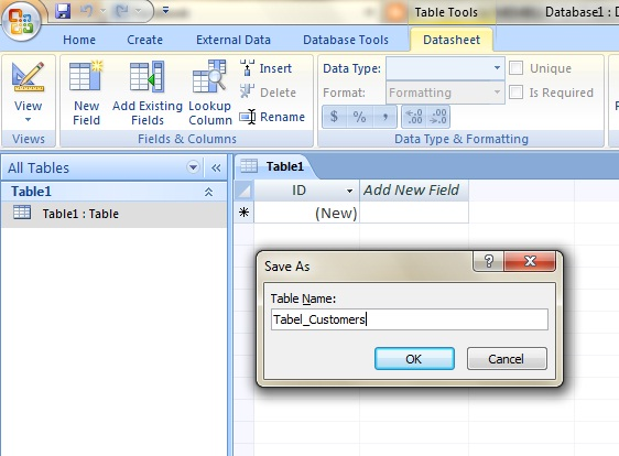Contoh DataBase dengan Ms. Access 2007 (1/6)